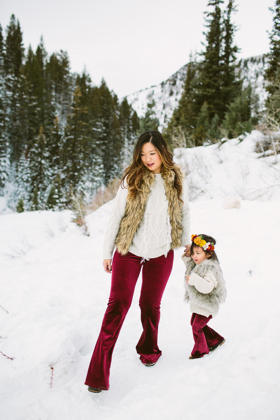 Mommy and me outfits velvet pants and fur vests