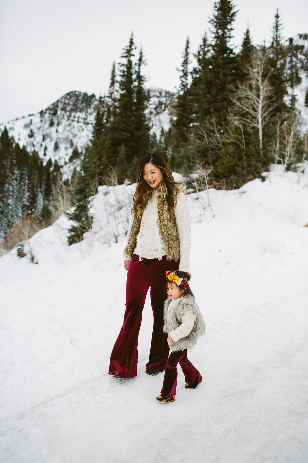 How to style velour pants for a mommy and me outfit