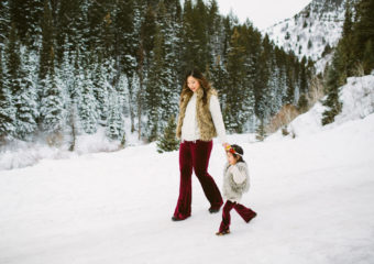 Mommy and Me Outfits – Fur Vests and Velvet Pants