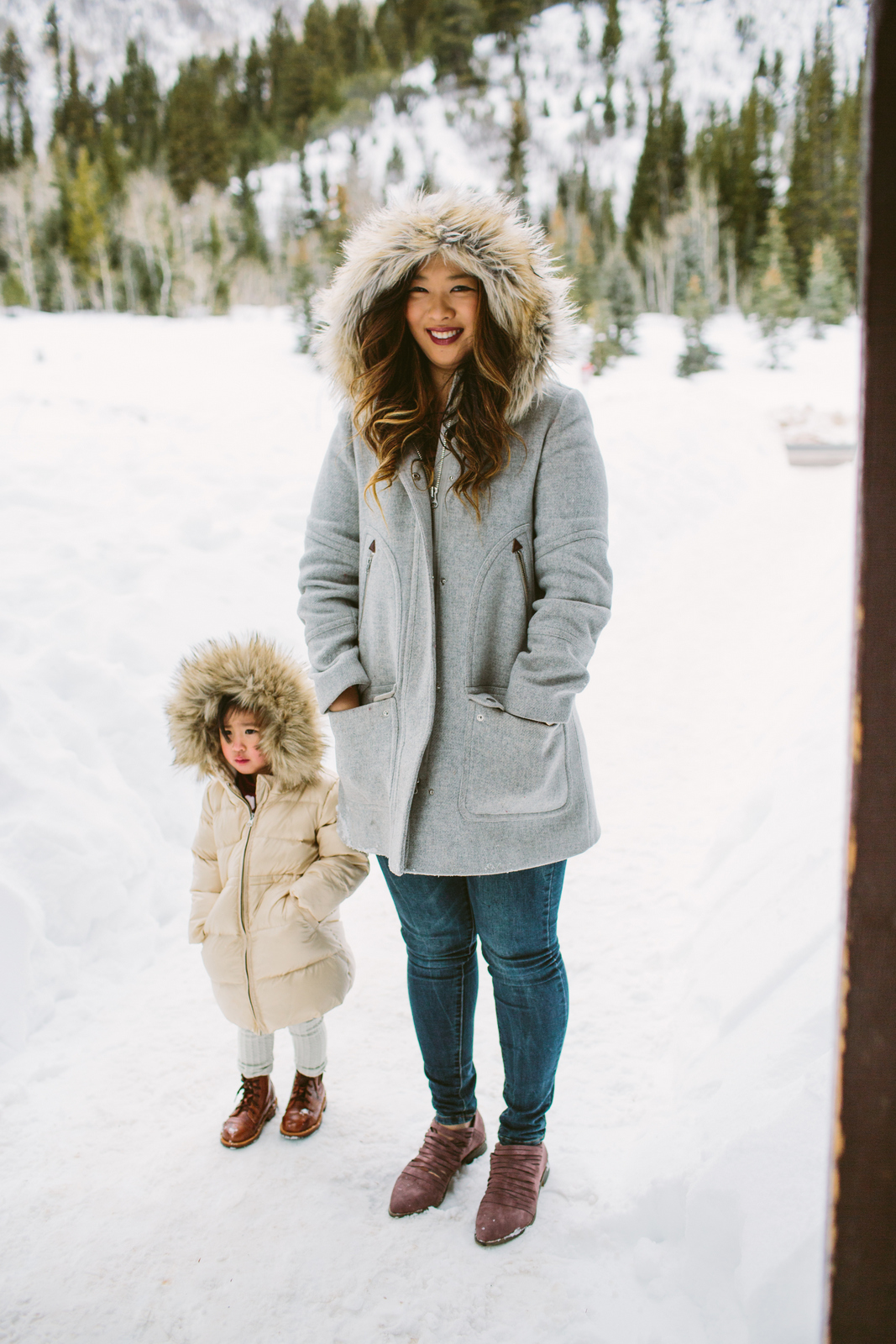 Mommy and me fur hood jackets