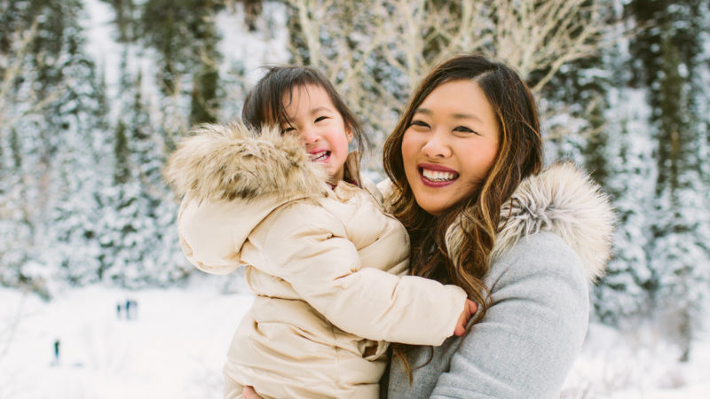 Mommy and Me Style: Polka Dots + Fur Hood Jackets