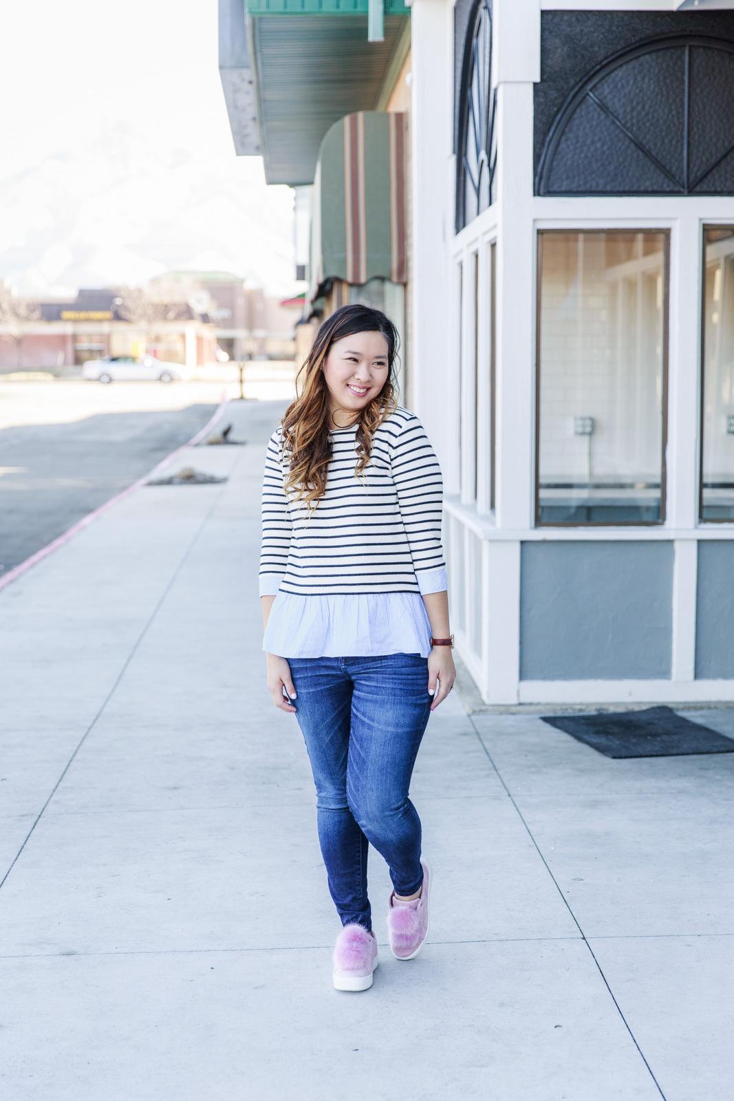 Stripes and pom pom shoes