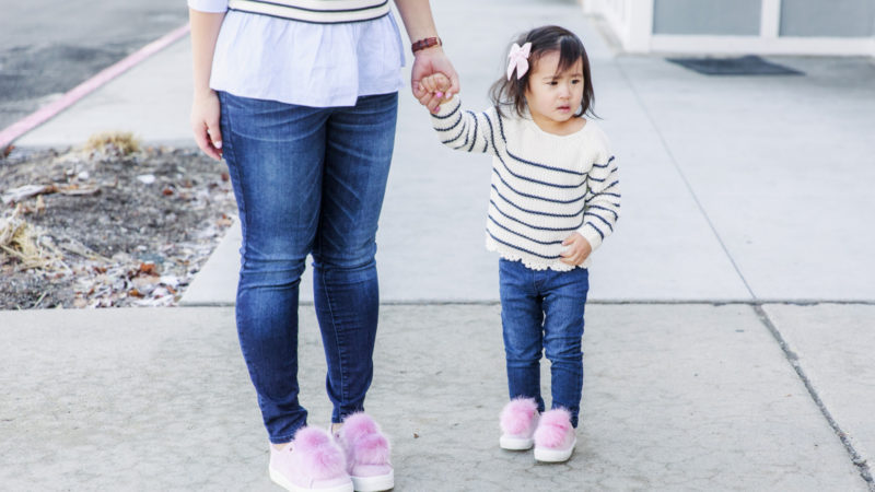Mommy and Me Outfits: Striped Shirts & Pink Pom Pom Shoes