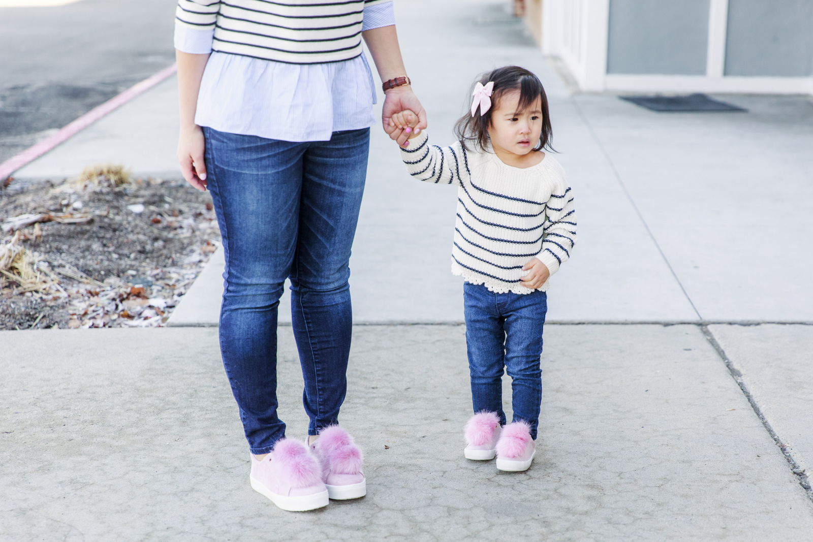 Mommy And Me Outfits Striped Shirts Pom Shoes