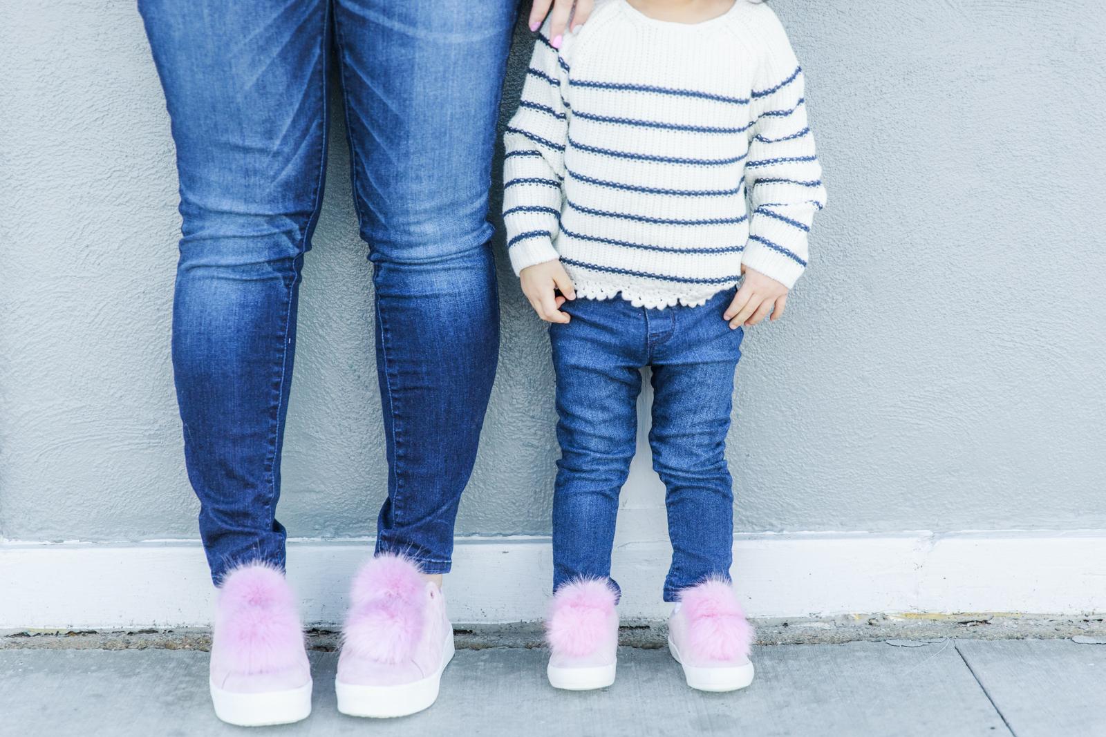 Pink pom pom shoes