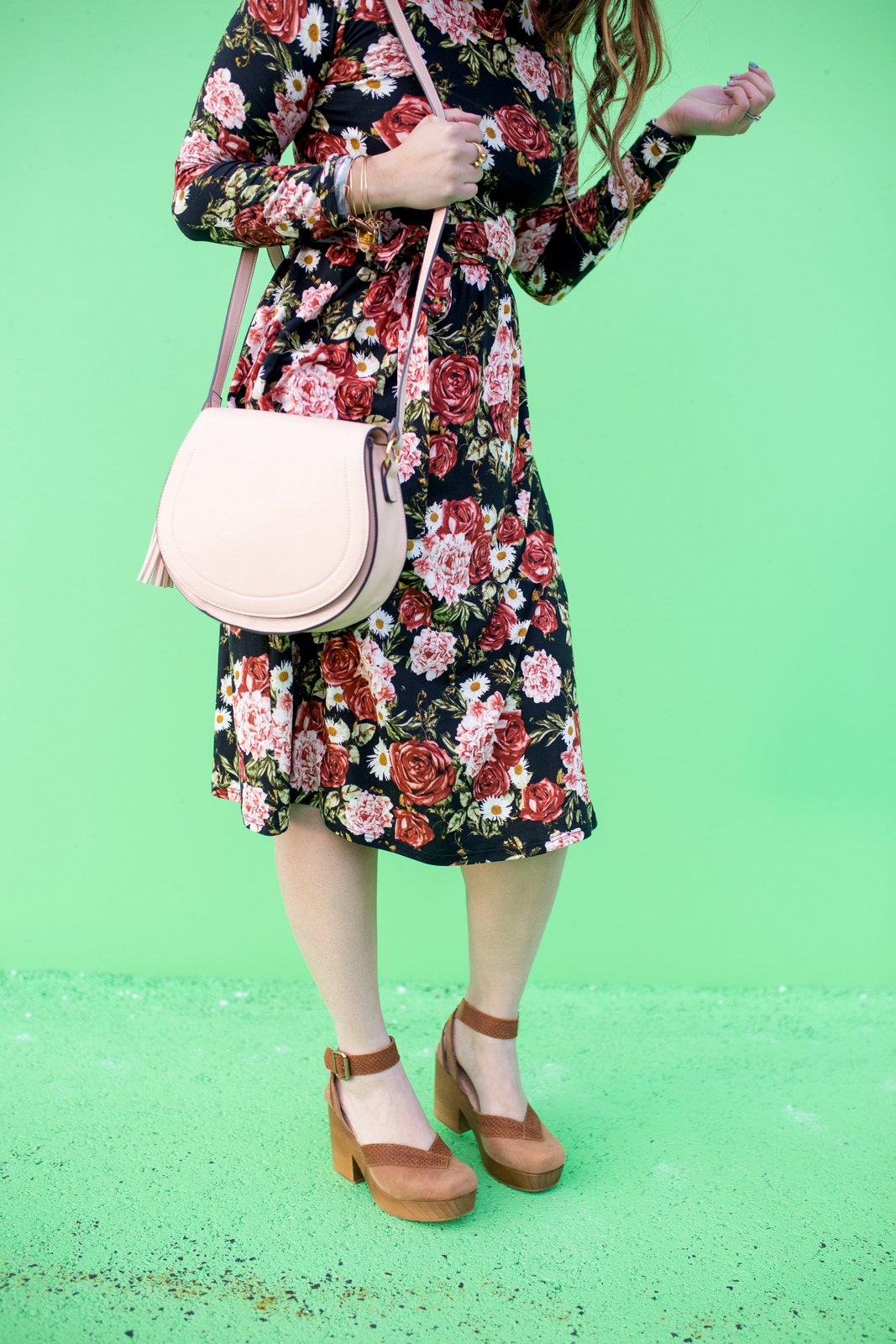 Floral dress and clogs