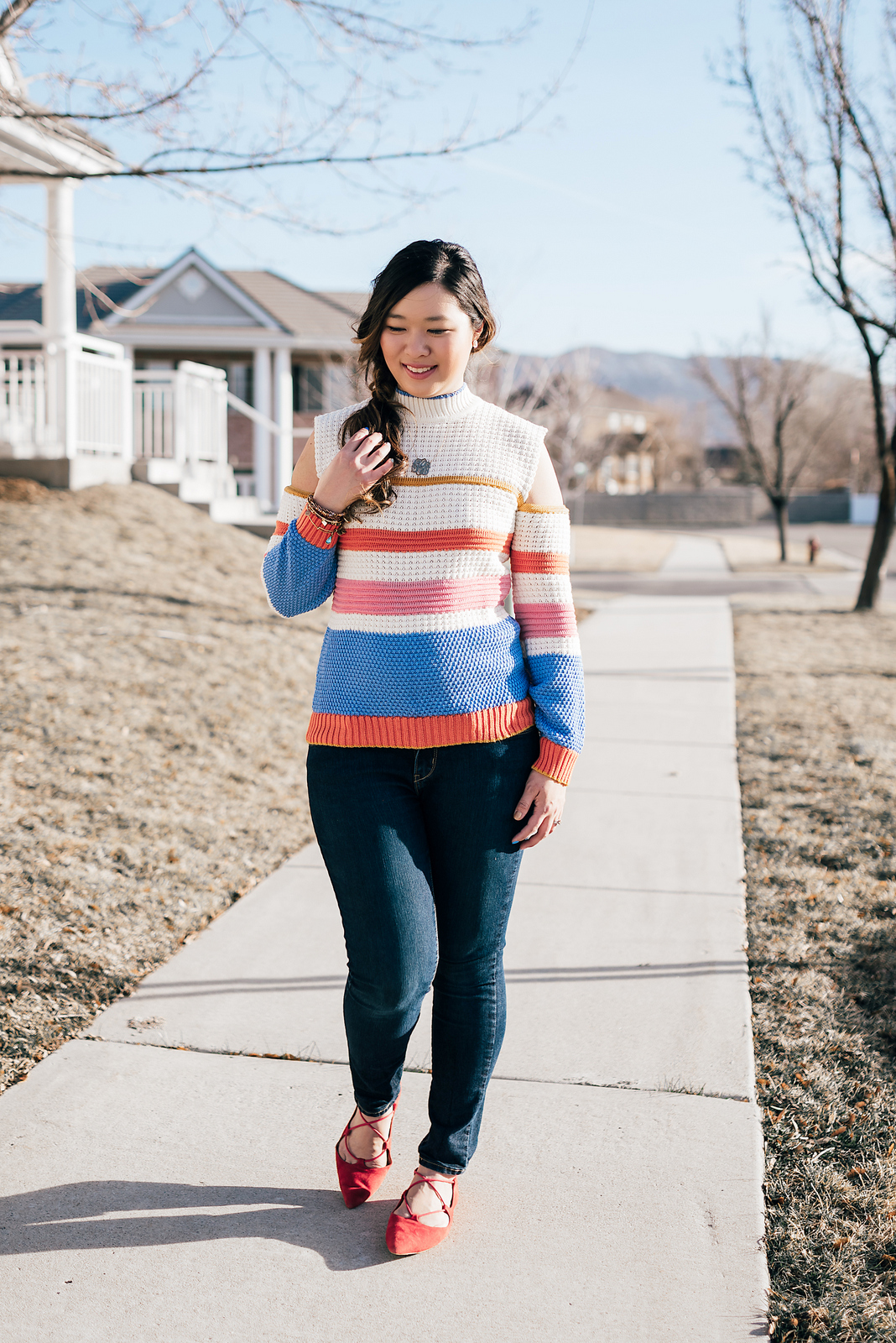 Mommy and Me Outfit: Rainbow Stripes by Utah fashion blogger Sandy A La Mode