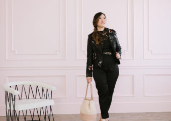 Black Jumpsuit and Blush Bag + Linkup!