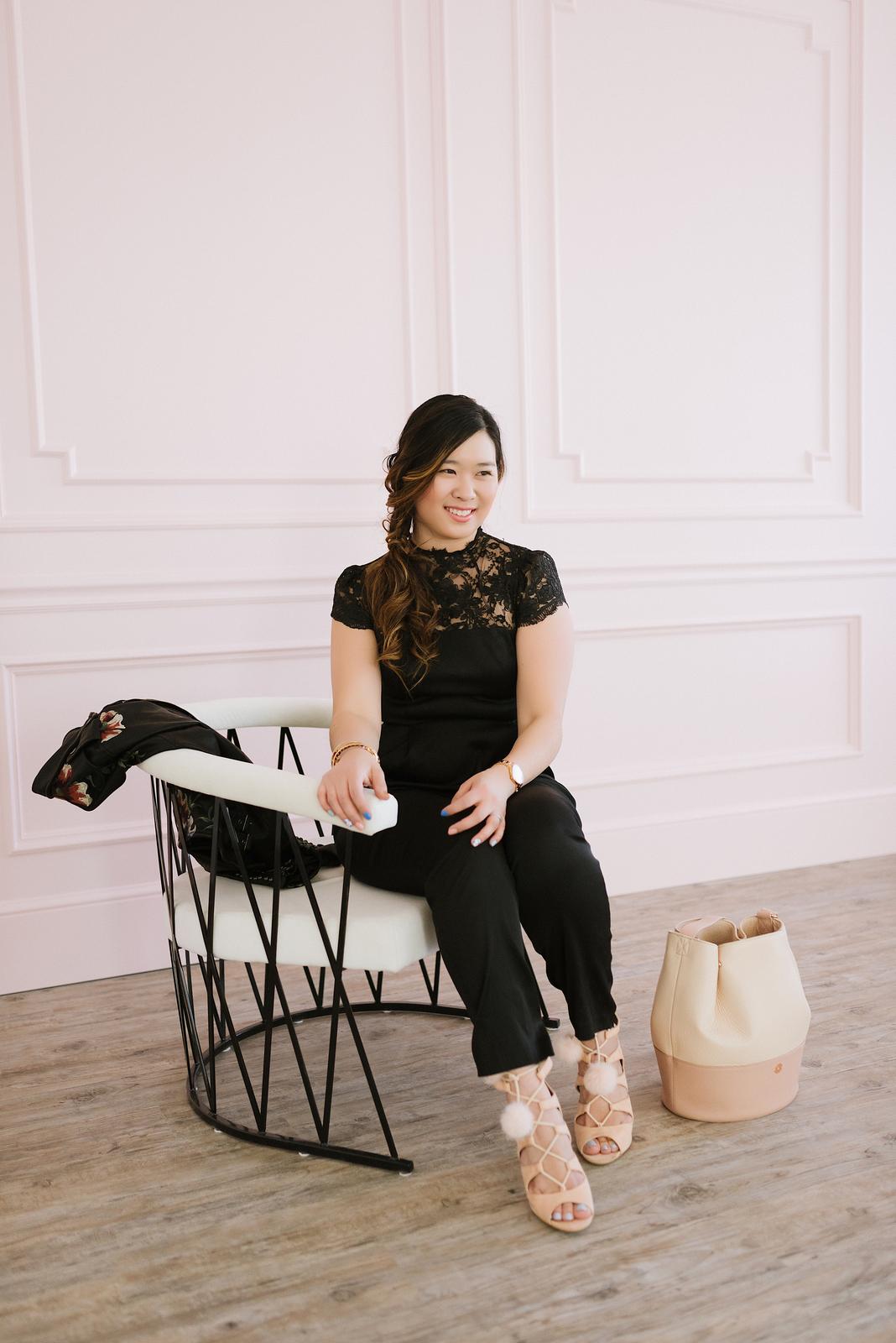 Black Jumpsuit and Blush Bag by fashion blogger Sandy A La Mode