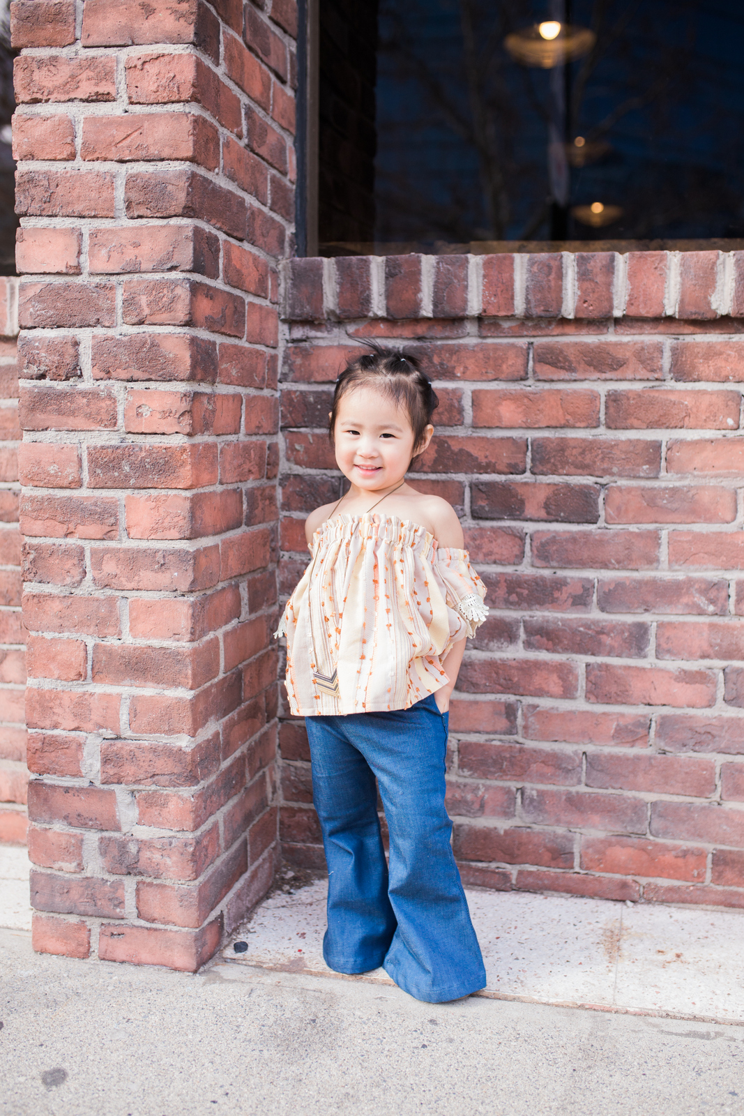 Toddler girl off the shoulder shirt and bell bottoms