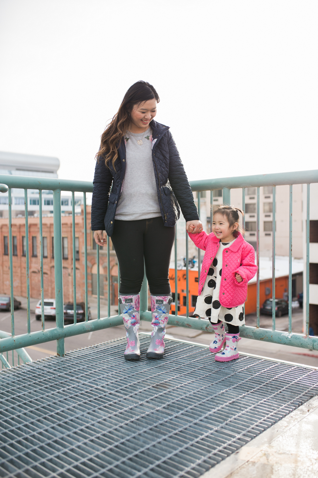 Mommy and Me Outfits: Cute Rain Boots for Spring Showers by fashion blogger Sandy A La Mode