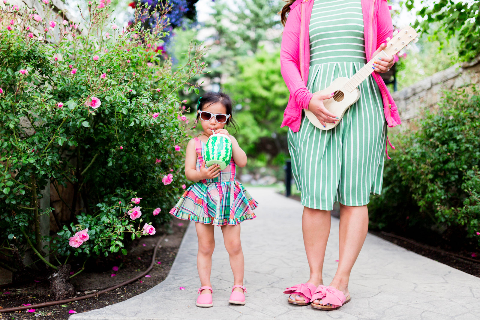 Mommy and Me Outfit: Pink and Green + Linkup! by fashion blogger Sandy A La Mode