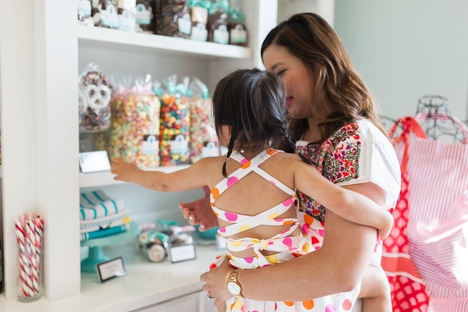 Mommy and Me Outfits: Colorful Floral Top and Polka Dots by fashion blogger Sandy A La Mode
