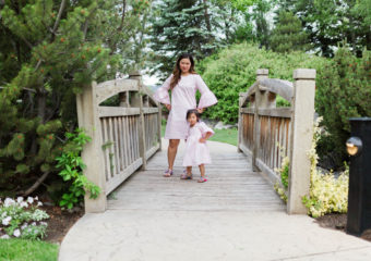 Mommy and Me Outfits: Pink Striped Bell Sleeve Dress + Linkup!