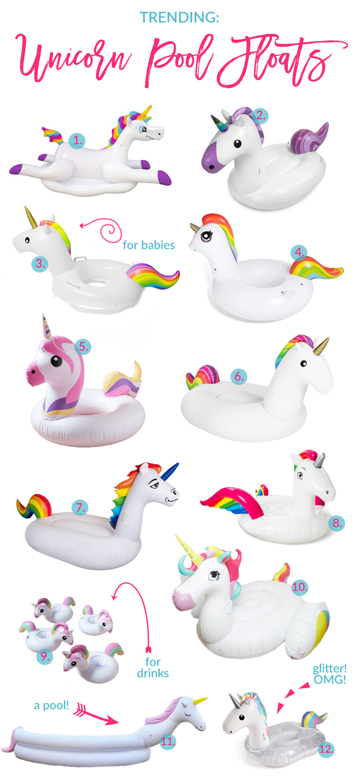 The Ultimate Unicorn Pool Float Guide For Summer by popular Utah blogger Sandy A La Mode