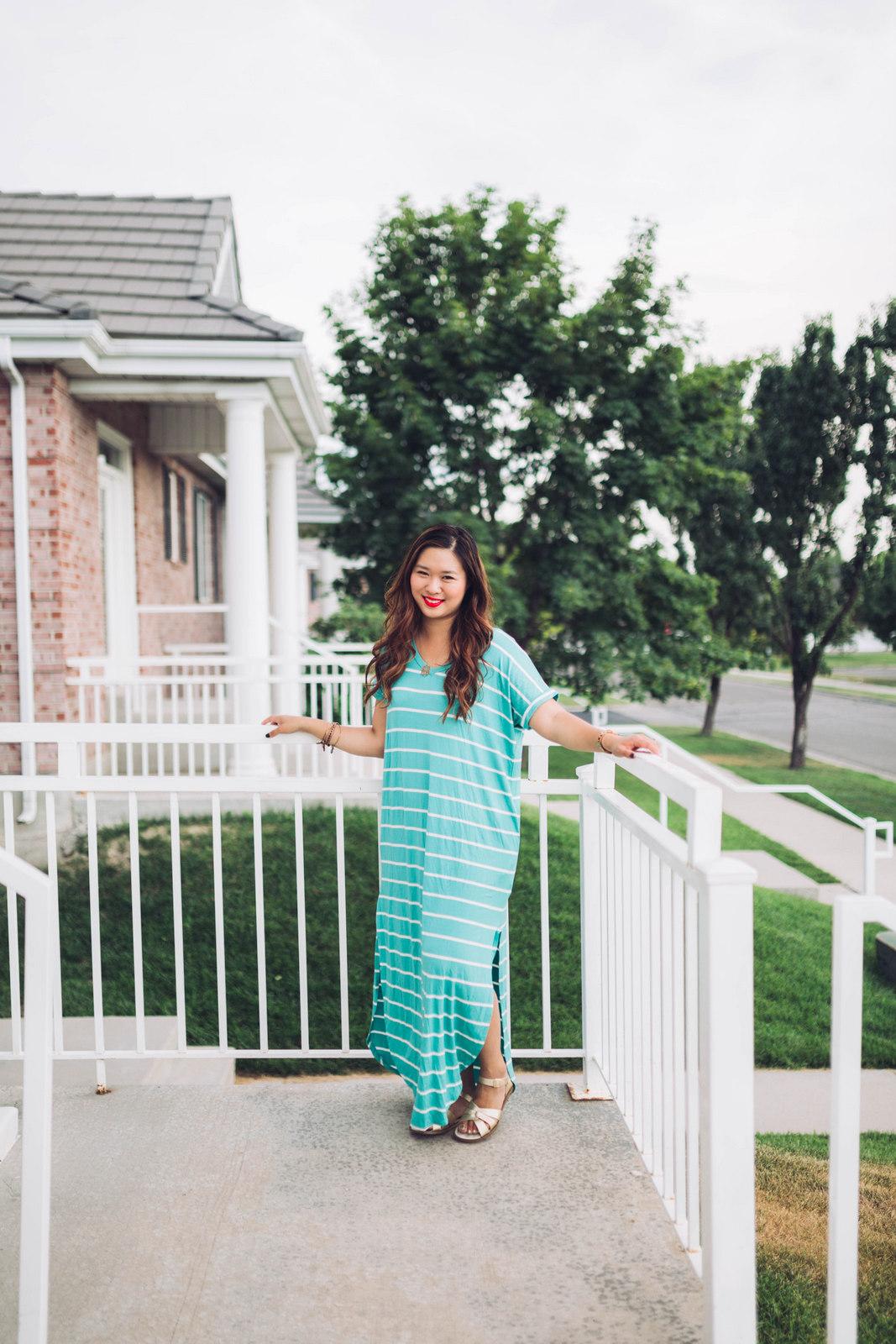 4 Ways To Style A Striped Maxi Dress by Utah fashion blogger Sandy A La Mode
