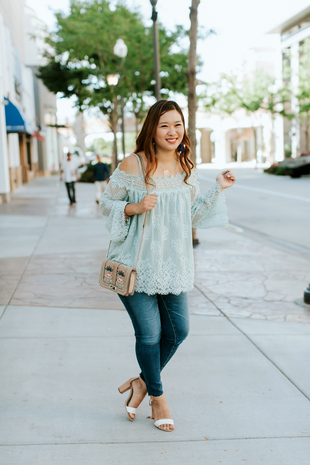 Pretty Mint Green Lace Top by Utah fashion blogger Sandy A La Mode