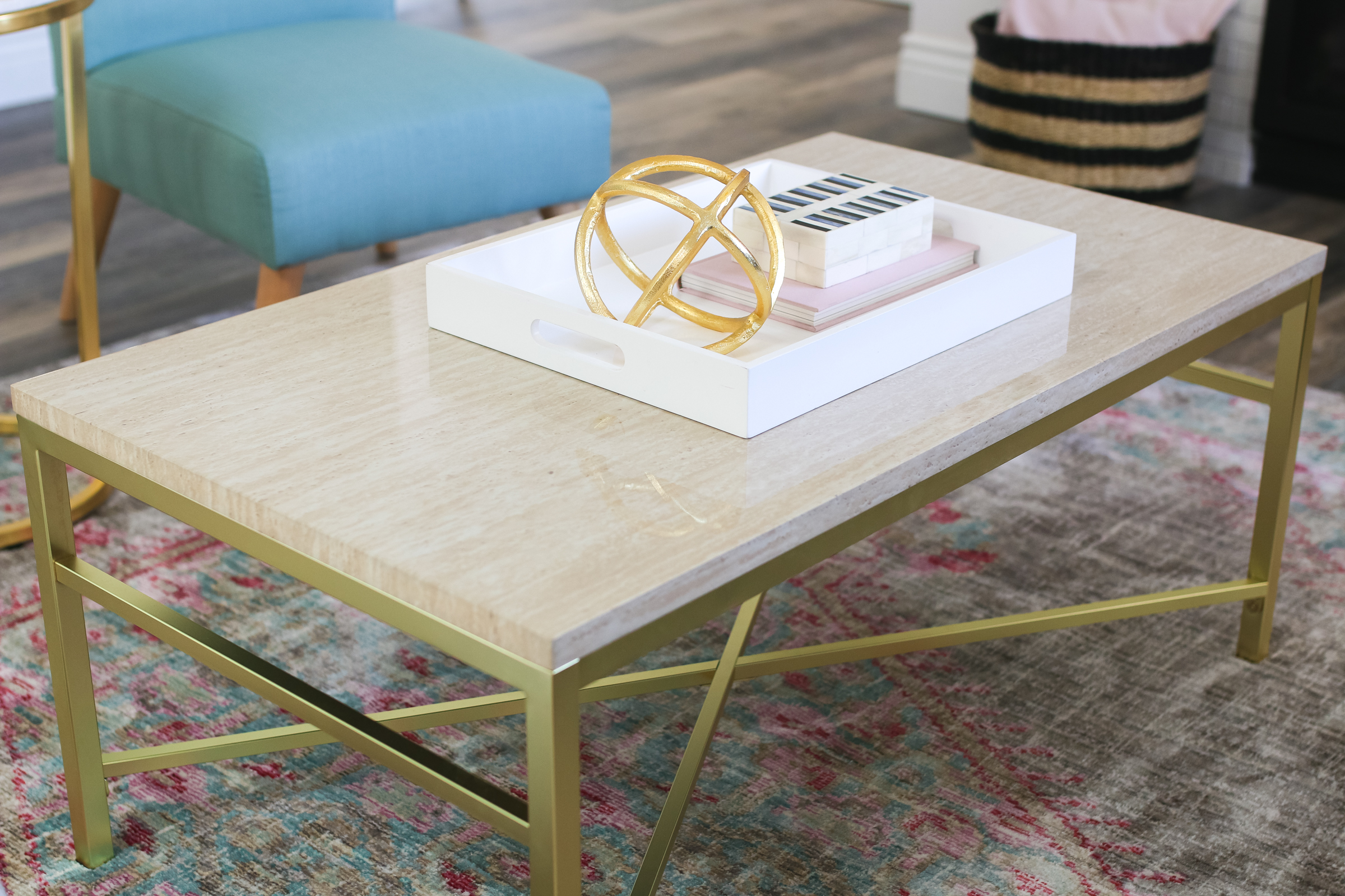 Our New Home Big Reveal: Our Modern Living Room With Hints of Gold by Utah blogger Sandy A La Mode