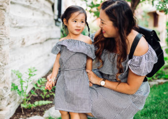 Mommy and Me Outfits: Off The Shoulder Gingham Dresses + Linkup!