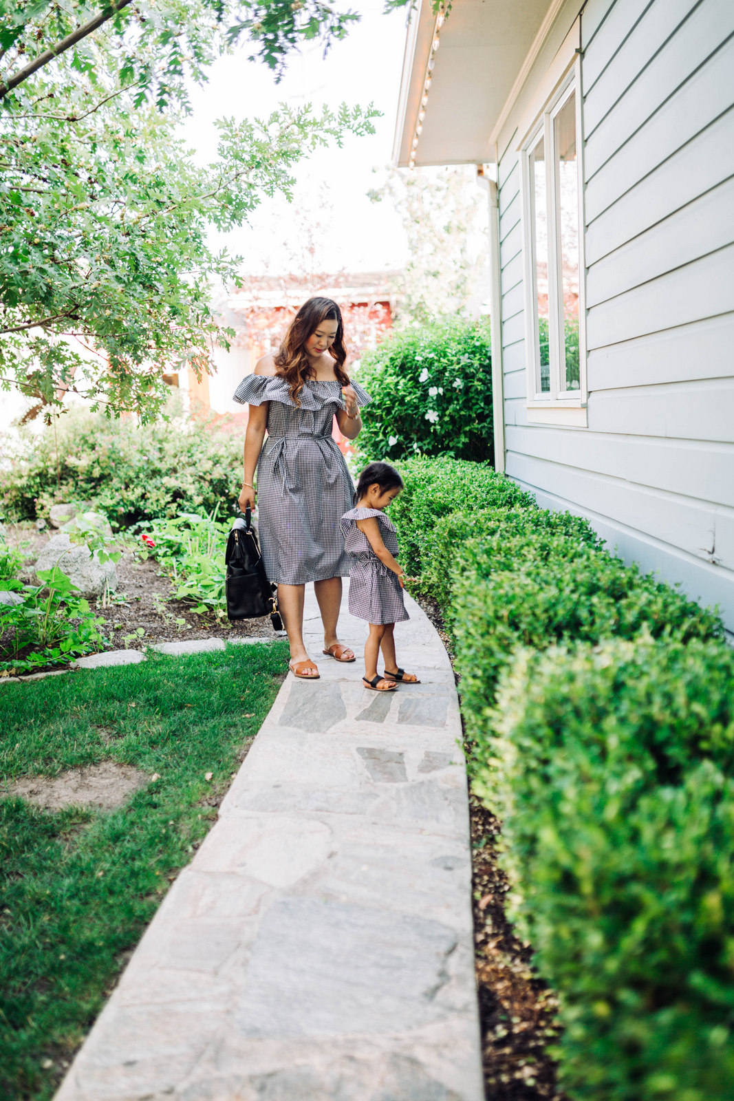Mommy and Me Outfits: Off The Shoulder Gingham Dresses by Utah fashion blogger Sandy A La Mode