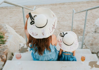 Mommy and Me Outfits: Chambray Dress & Floppy Sun Hat + Linkup!