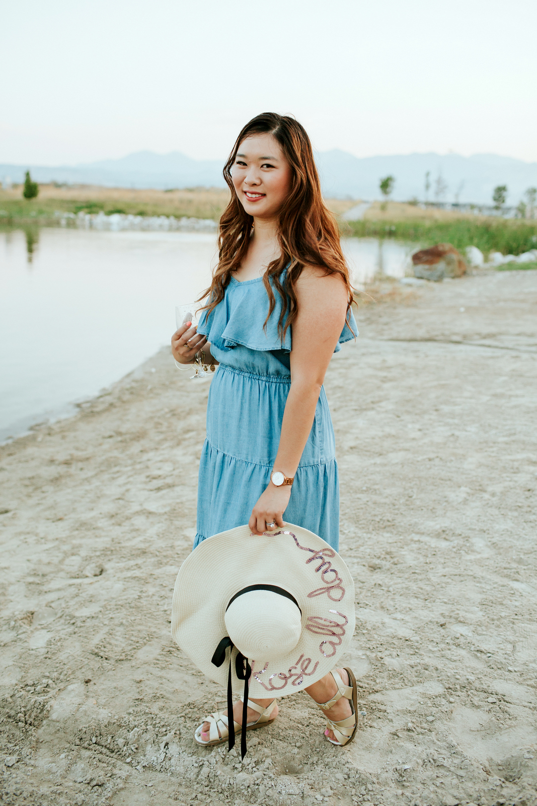 Mommy and Me Outfits: Chambray Dress & Floppy Sun Hat by Utah fashion blogger Sandy A La Mode
