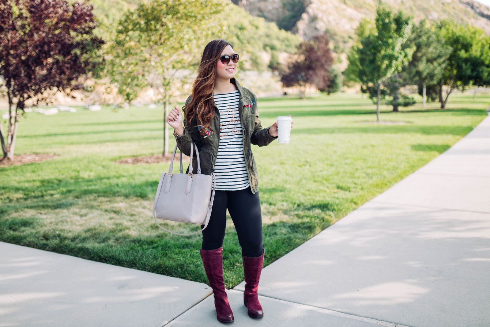 Born Fannar Boots - Burgundy Knee High Boots For Fall by Utah fashion blogger Sandy A La Mode