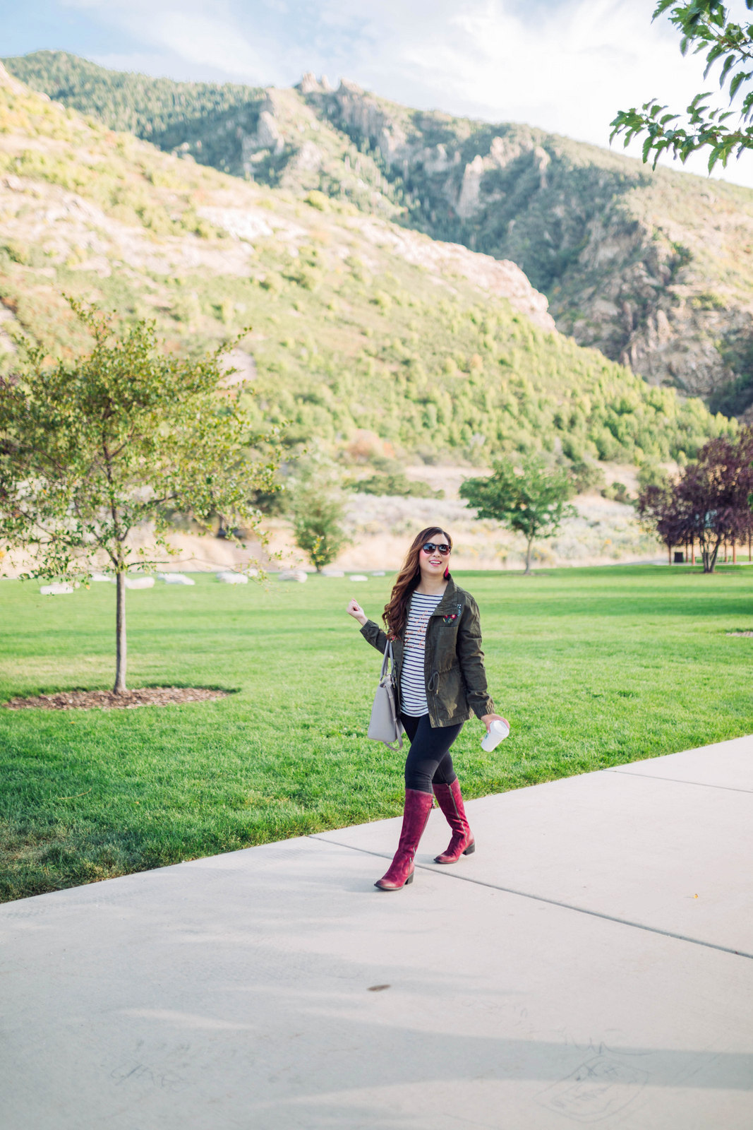 Burgundy Knee High Boots For Fall by Utah fashion blogger Sandy A La Mode