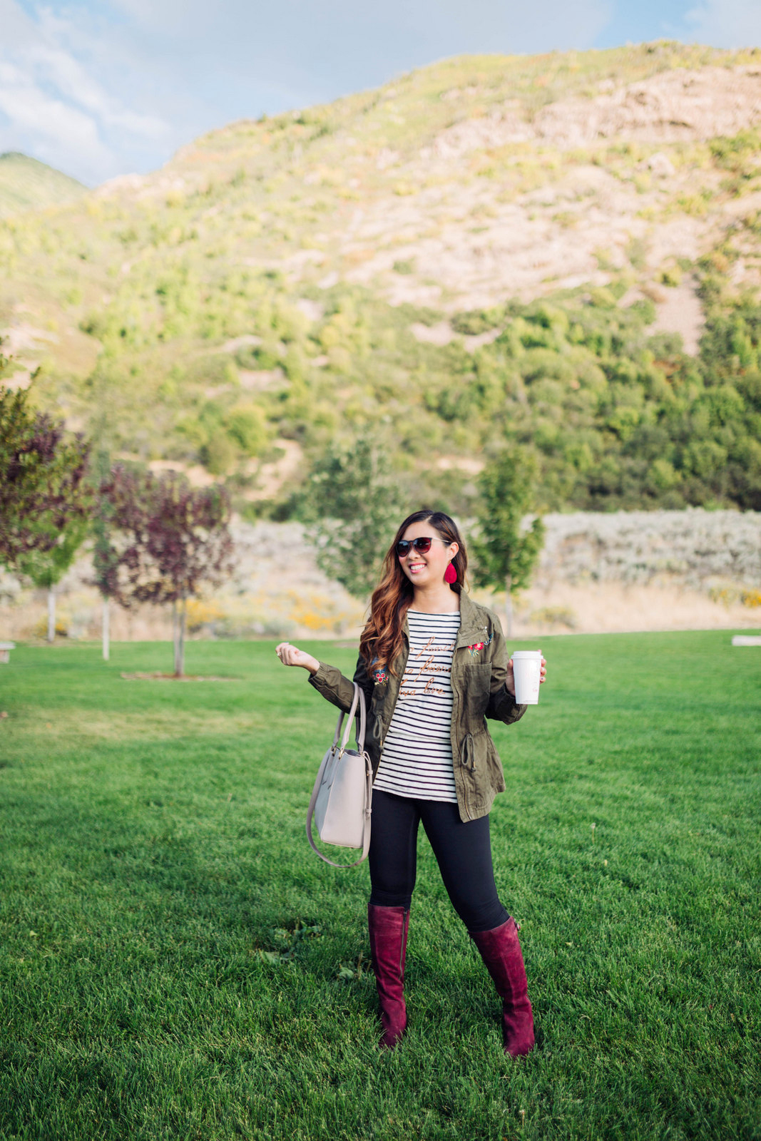 Over the knee boots - Burgundy Knee High Boots For Fall by Utah fashion blogger Sandy A La Mode