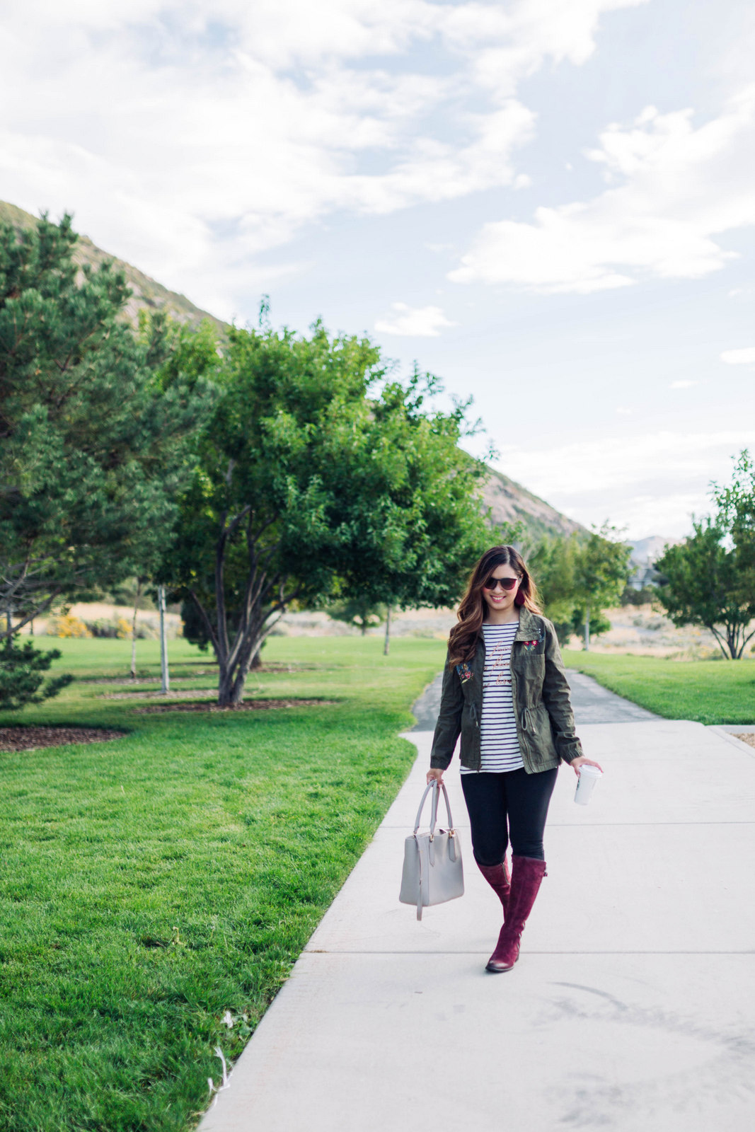 Over the knee boots from Zappos - Burgundy Knee High Boots For Fall by Utah fashion blogger Sandy A La Mode