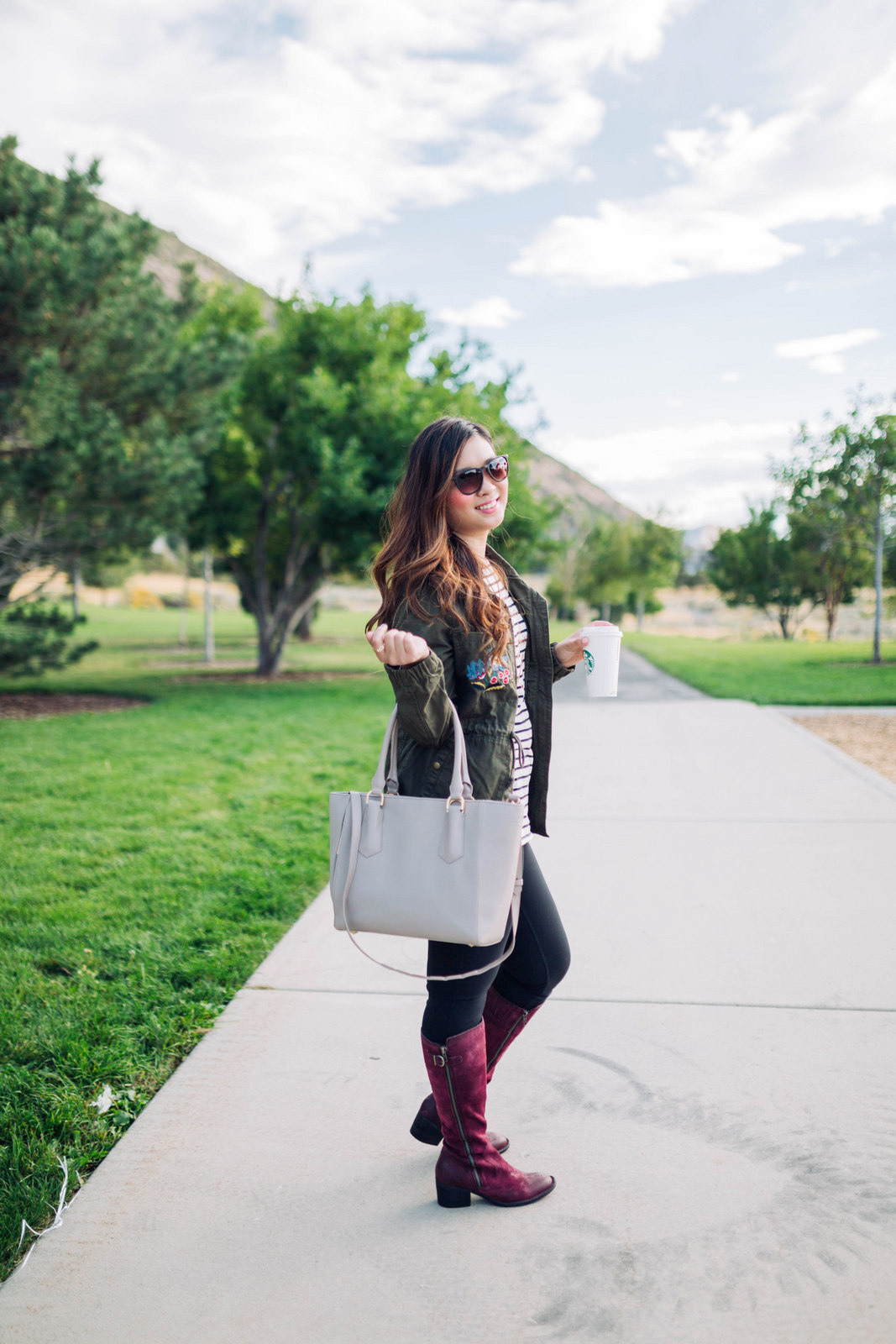 Zappos Shoes - Burgundy Knee High Boots For Fall by Utah fashion blogger Sandy A La Mode