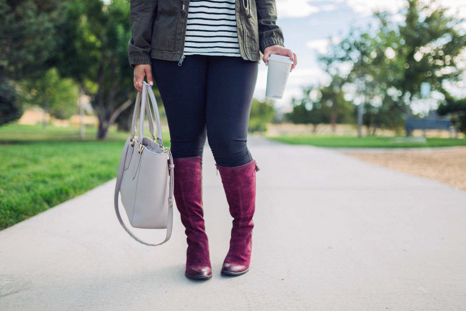 Fannar Boots - Burgundy Knee High Boots For Fall by Utah fashion blogger Sandy A La Mode