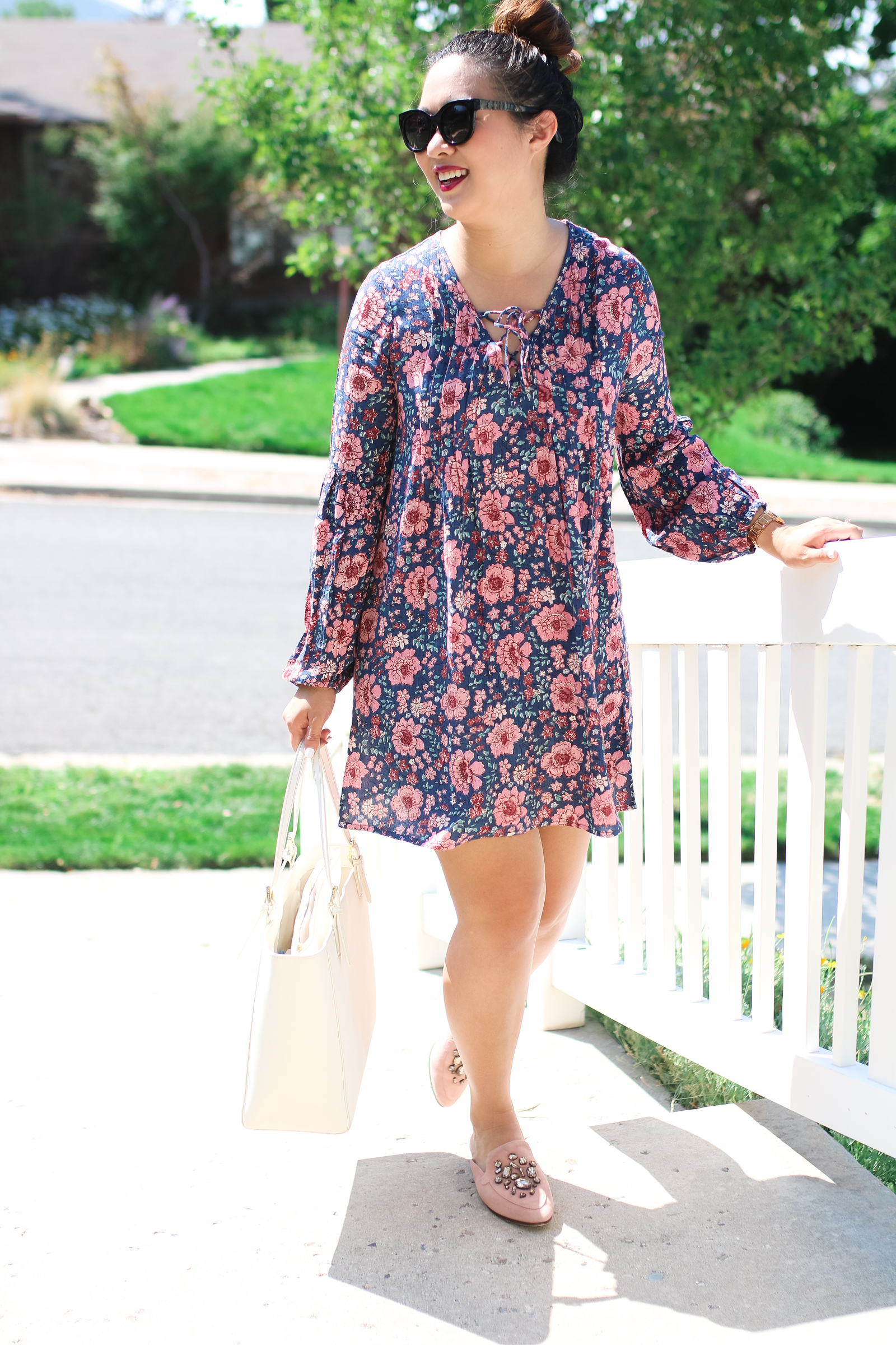 floral dress with mules - A Great Snack For Kids and Busy Moms by Utah mom blogger Sandy A La Mode