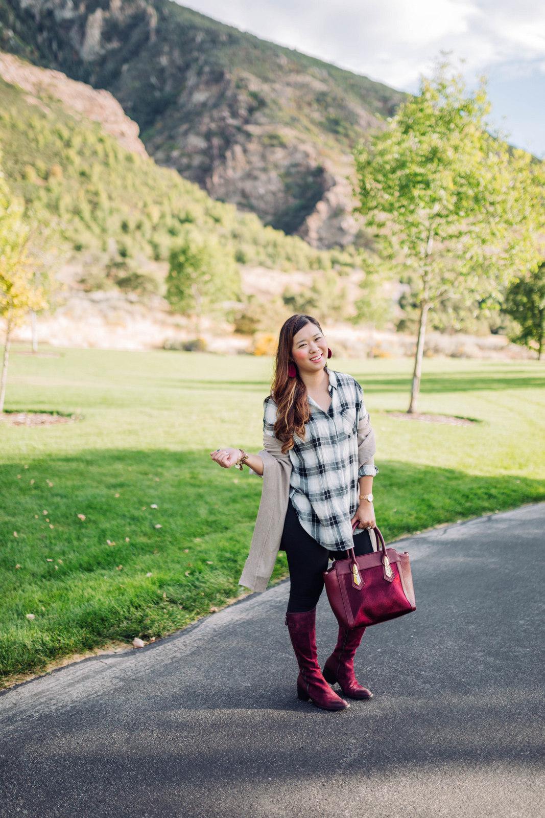 Boyfriend Cardigan and Boots Weather by Utah fashion blogger Sandy A La Mode