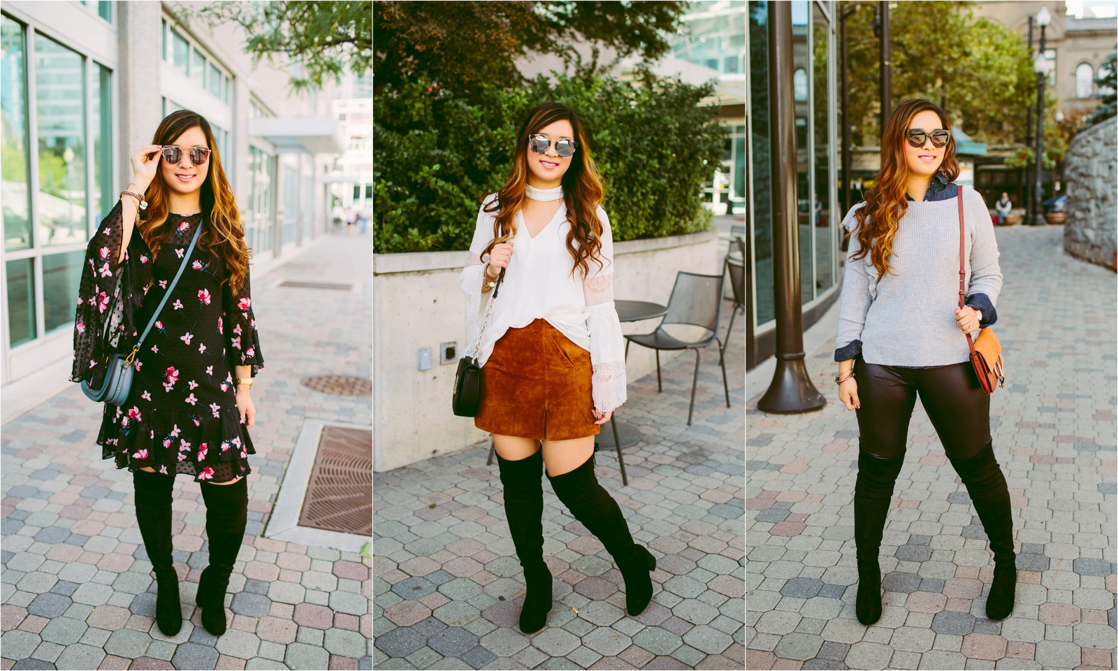 506053babc02 3 Ways To Wear Black Over The Knee Boots by Utah fashion blogger Sandy A La  Pin this image on Pinterest