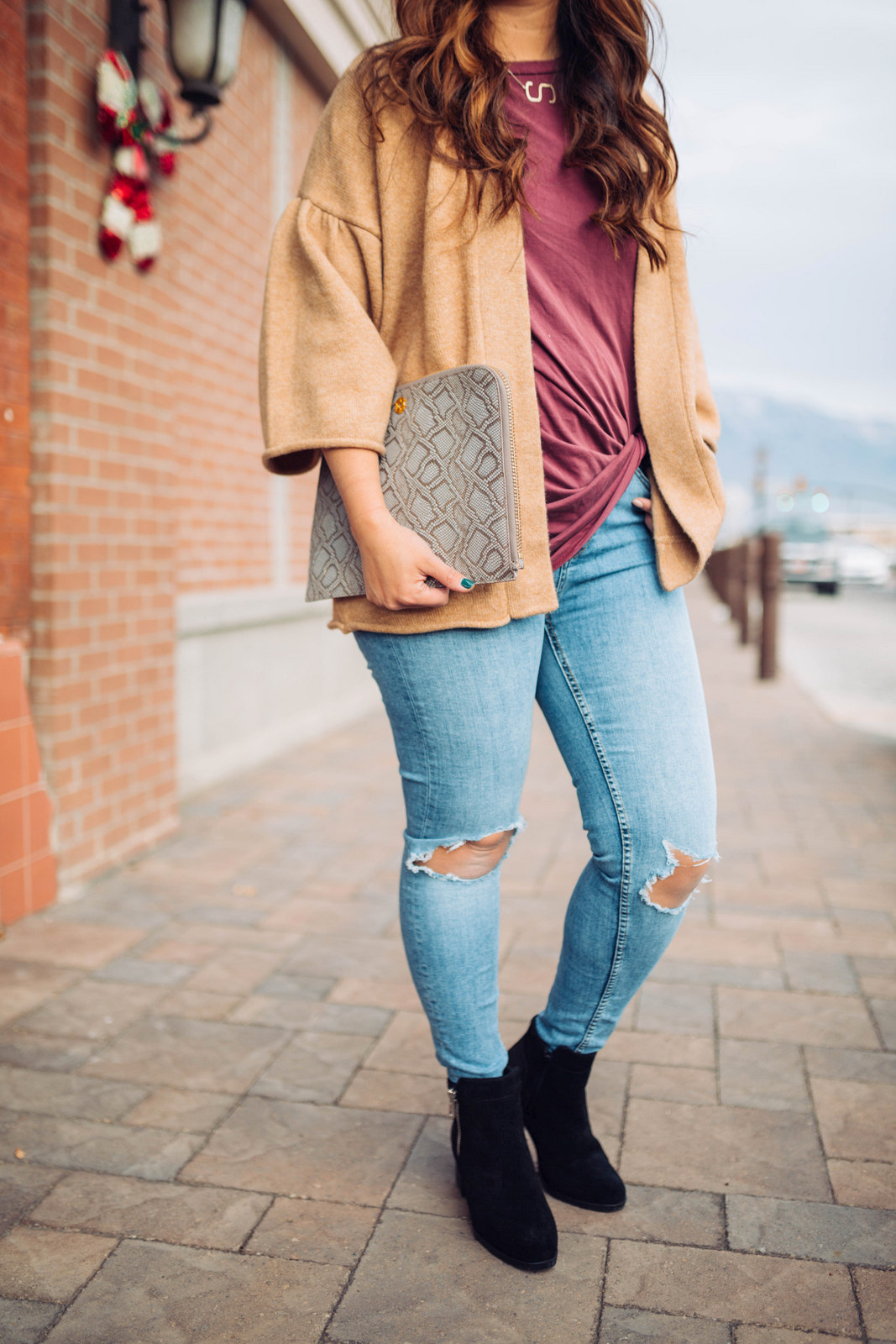 Bell Sleeve Cardigan + Black Boots by Utah fashion blogger Sandy A La Mode