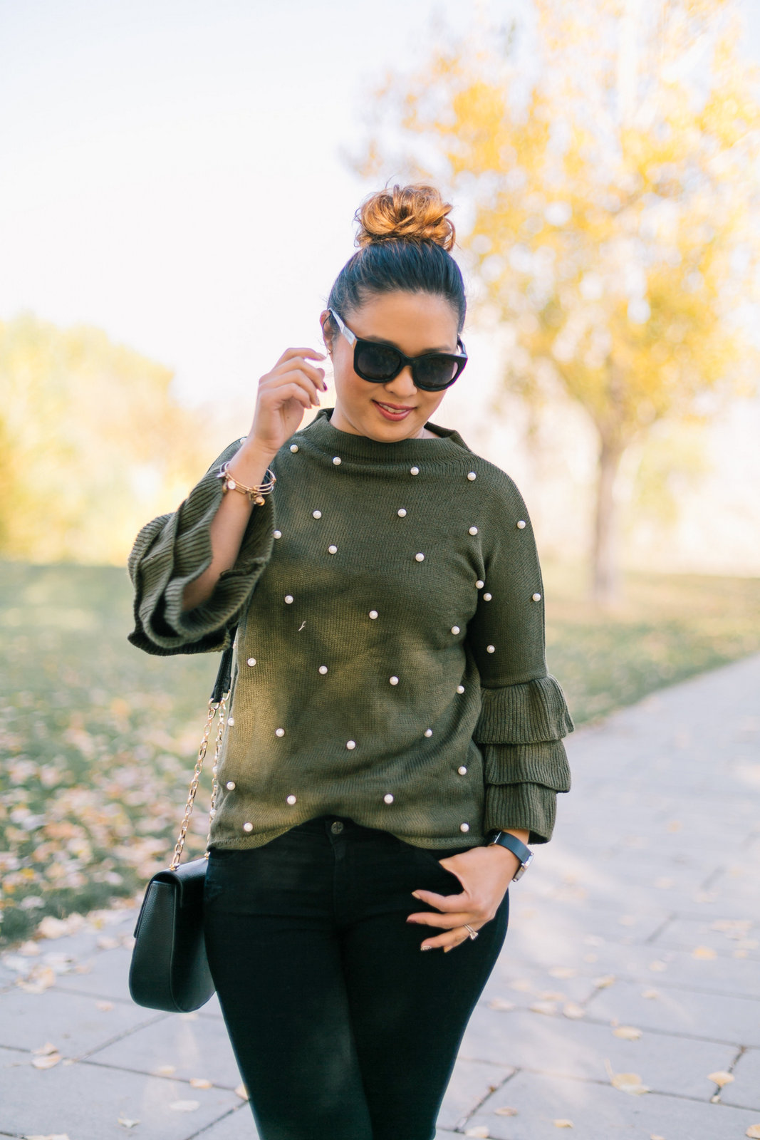 Pearl Embellished Sweater and Leopard Shoes by Utah fashion blogger Sandy A La Mode