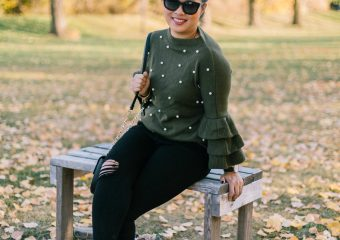 Pearl Embellished Sweater and Leopard Shoes + Linkup!