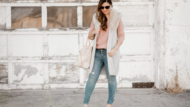 Faux Fur Collar Vest + Button Fly Jeans