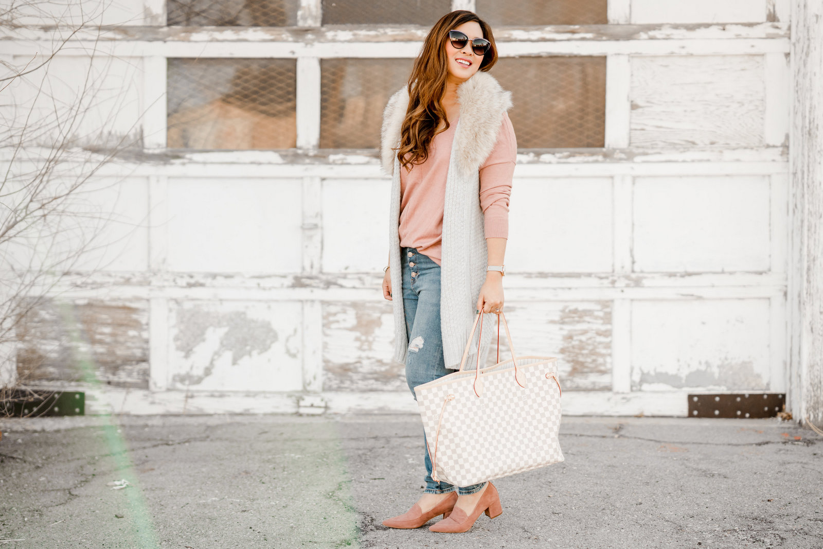 Faux Fur Collar Vest + Button Fly Jeans by Utah fashion blogger Sandy A La Mode