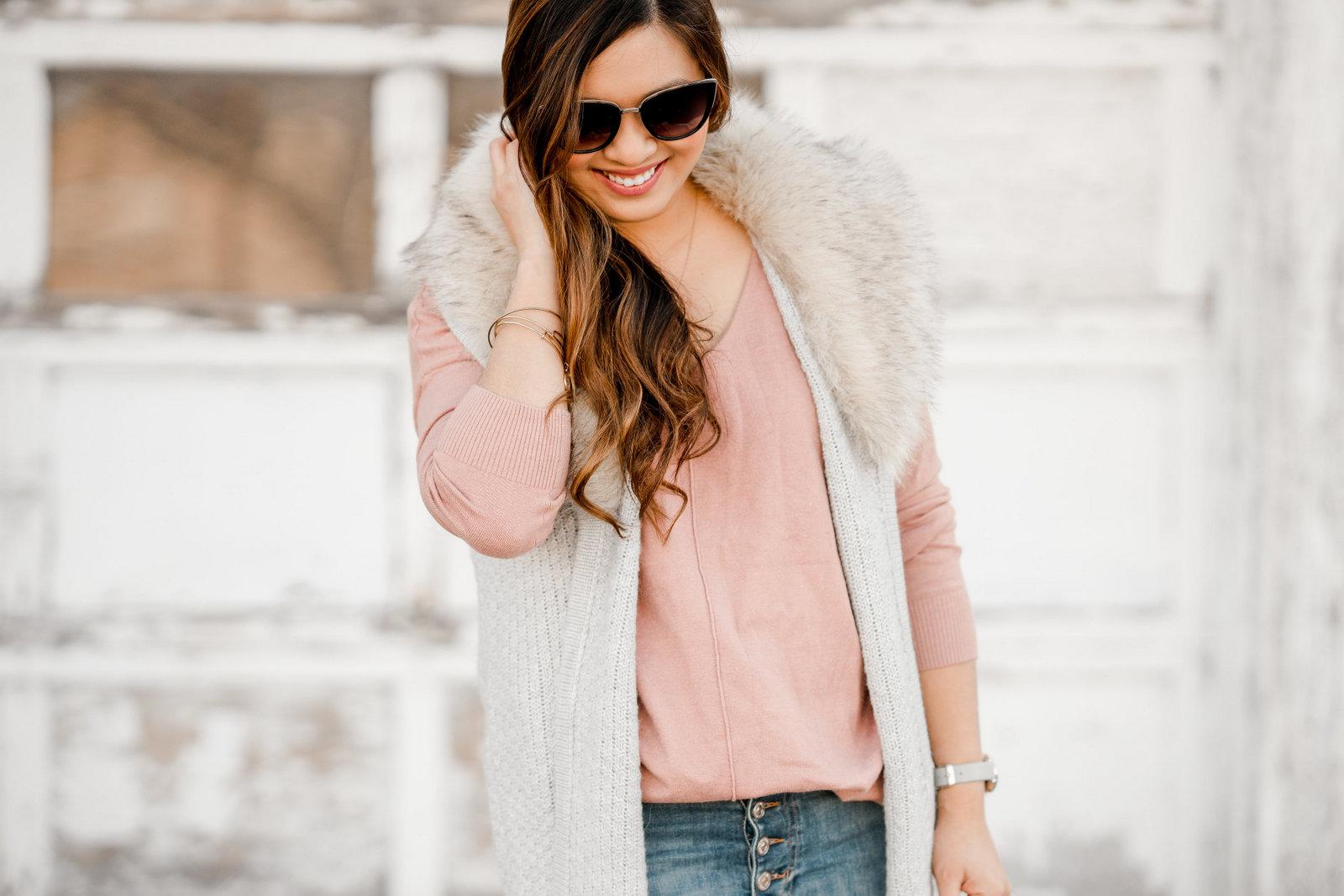 Faux Fur Collar Vest + Button Fly Jeans by Utah fashion blogger Sandy A La Mode