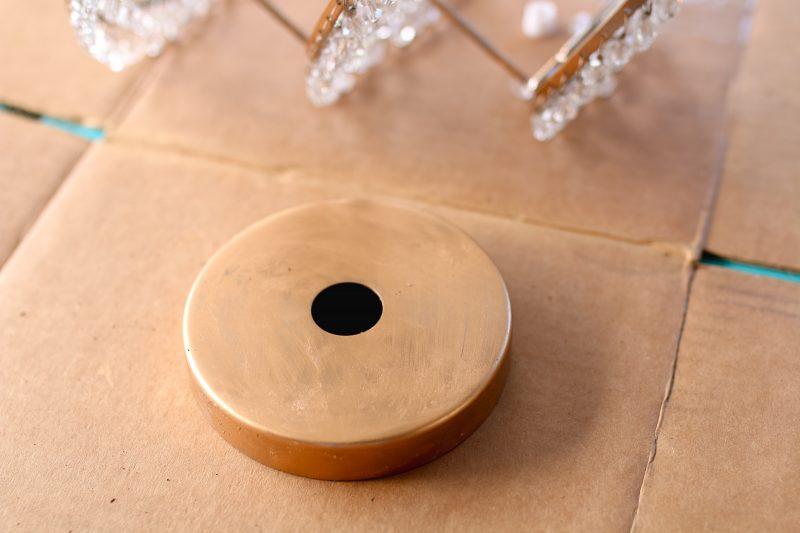 DIY Gold Beaded Chandelier by popular Utah style blogger Sandy A La Mode