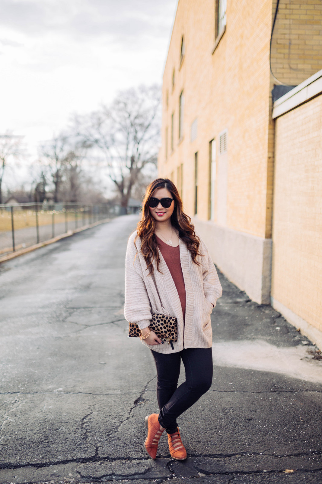 Lace Up Back Sweater + Cozy Cardigan by Utah style blogger Sandy A La Mode
