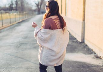 Lace Up Back Sweater + Cozy Cardigan