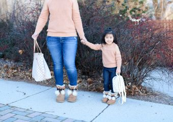Mommy and Me Outfit: Cold Shoulder Tops + Pom Pom UGGs