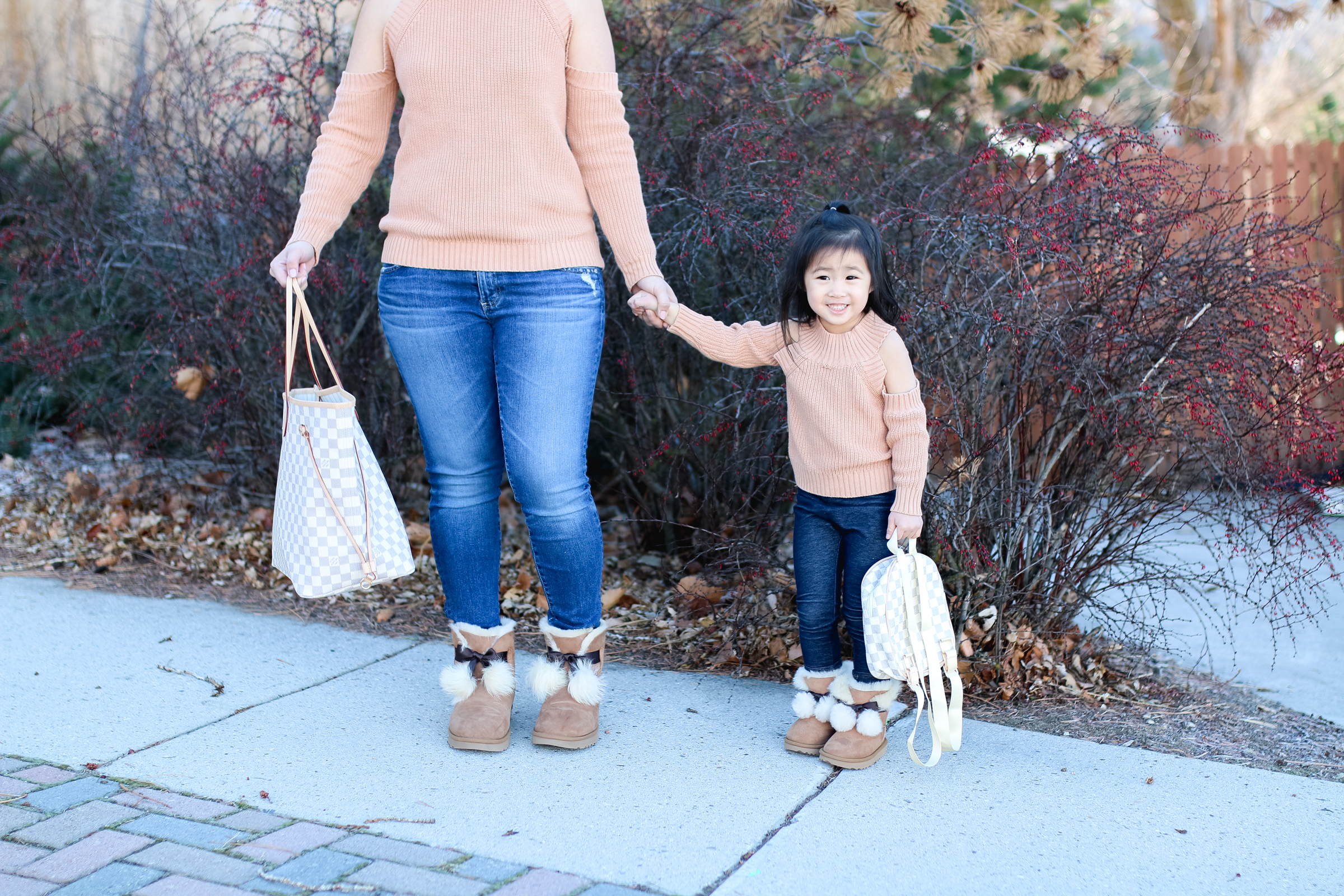Mommy And Me Outfit Cold Shoulder Tops Pom UGGs By Popular Utah Style
