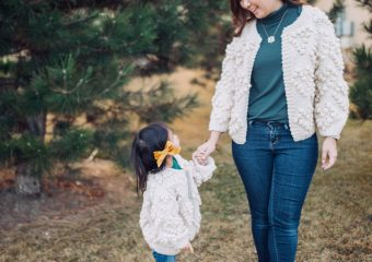 Mommy and Me Outfit: Pom Pom Cardigan and Leopard Boots