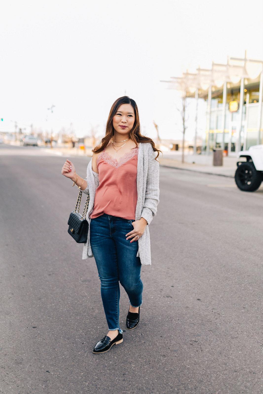 2 Ways To Style A Grey Long Cardigan by popular Utah fashion blogger Sandy A La Mode