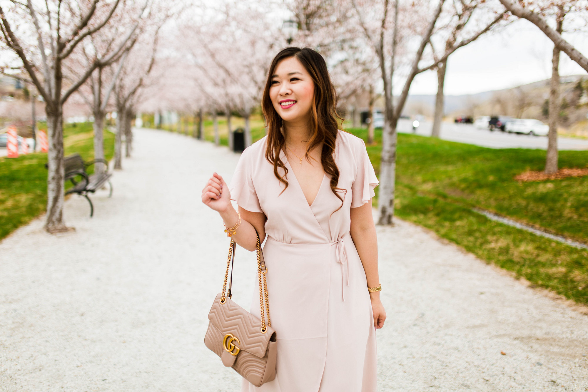 outfit 1 classic blush wrap dress