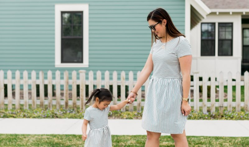 Mommy and Me Outfits: Elegantees Striped Riley Dress